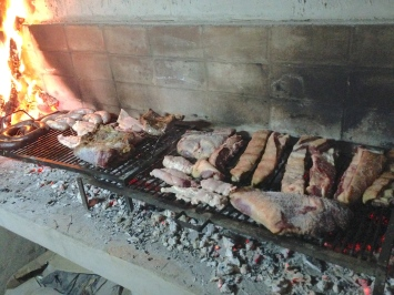 """Casa's first """"official"""" asado. Simply put: fire + meat = happy man."""