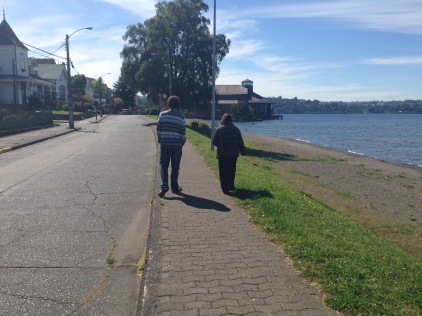 Jake and Paola's mom along the shores of Lake Llanquihue