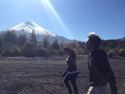 Jake and Paola with Volcano Osorno